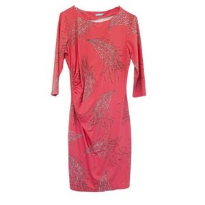 J. McLaughlin 3/4 Sleeve Side Ruched Coral Dress